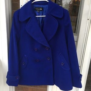 Forever 21 Royal Blue Pea Coat